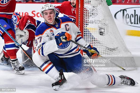 Connor McDavid of the Edmonton Oilers slips during the NHL game against the Montreal Canadiens at the Bell Centre on February 5 2017 in Montreal...