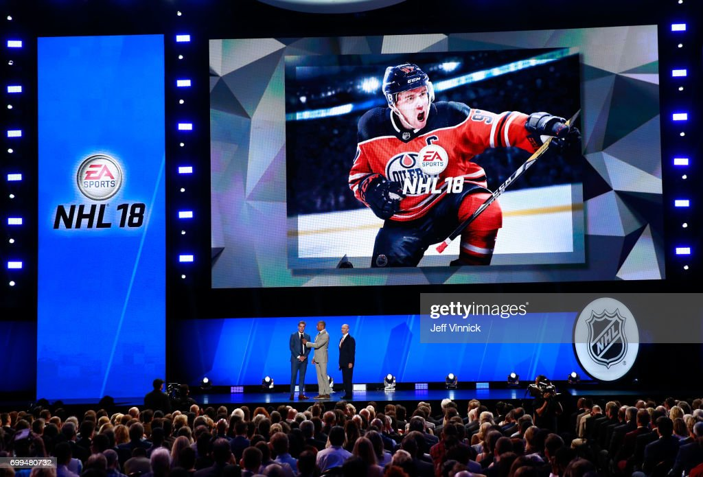 Connor McDavid of the Edmonton Oilers speaks onstage after being named as EA Sports NHL18 cover athlete during the 2017 NHL Awards & Expansion Draft at T-Mobile Arena on June 21, 2017 in Las Vegas, Nevada.