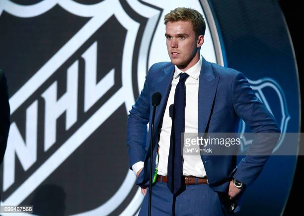 Connor McDavid of the Edmonton Oilers speaks onstage during the 2017 NHL Awards Expansion Draft at TMobile Arena on June 21 2017 in Las Vegas Nevada