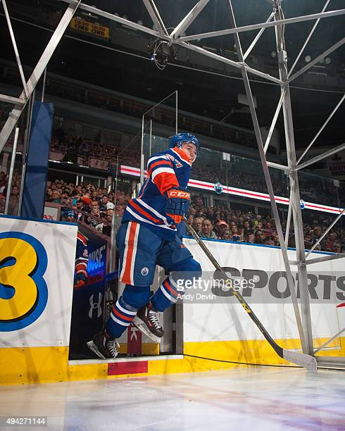 Connor McDavid of the Edmonton Oilers steps onto the ice prior to a game against the Los Angeles Kings on October 25 2015 at Rexall Place in Edmonton...