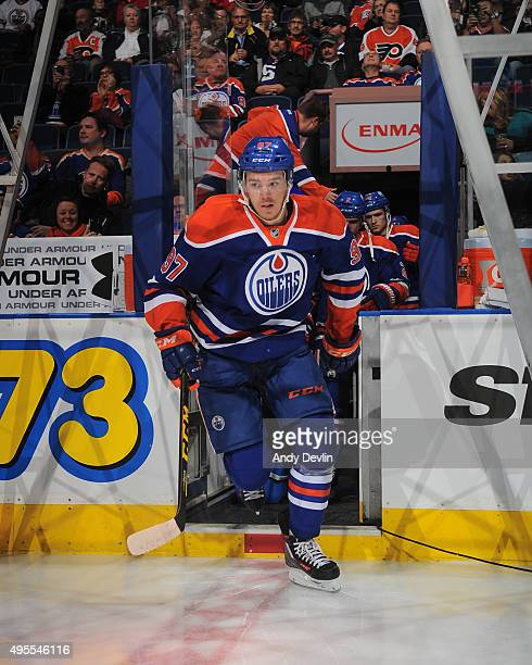 Connor McDavid of the Edmonton Oilers steps onto the ice prior to a game against the Philadelphia Flyers on November 3 2015 at Rexall Place in...