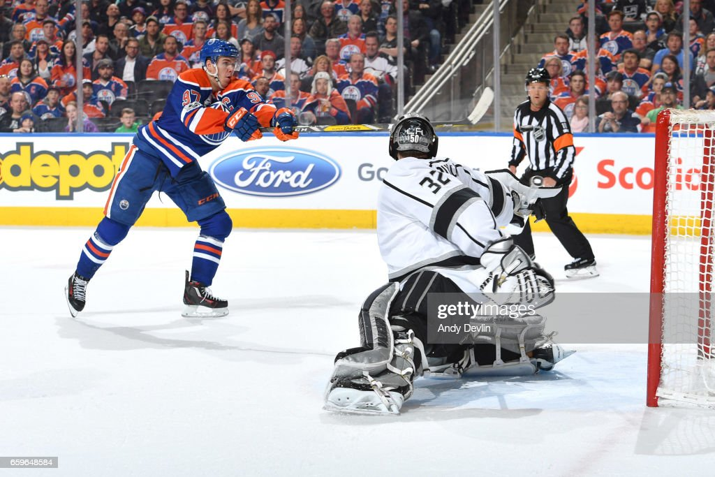Connor McDavid #97 of the Edmonton Oilers takes a shot on Jonathan Quick #32 of the Los Angeles Kings on March 28, 2017 at Rogers Place in Edmonton, Alberta, Canada.