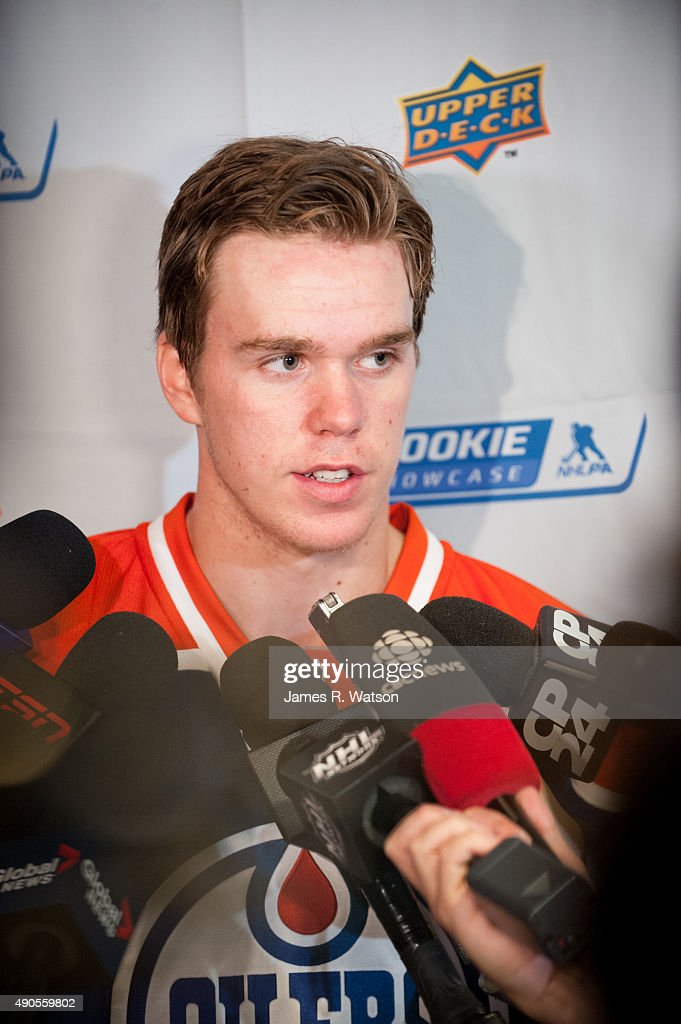 Connor McDavid #97 of the Edmonton Oilers takes questions from the media during the 2015 NHLPA Rookie Showcase at Mattamy Athletic Centre on September 1, 2015 in Toronto , Ontario , Canada .