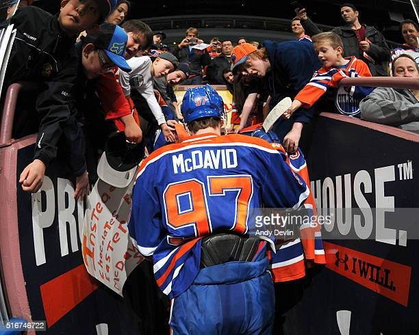 Connor McDavid of the Edmonton Oilers walks to the locker room prior to a game against the Colorado Avalanche on March 20 2016 at Rexall Place in...