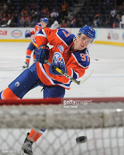 Connor McDavid of the Edmonton Oilers warms up prior to a game against the Vancouver Canucks on March 18 2016 at Rexall Place in Edmonton Alberta...