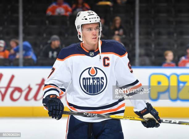 Connor McDavid of the Edmonton Oilers warms up prior to the preseason game against the Winnipeg Jets on September 23 2017 at Rogers Place in Edmonton...