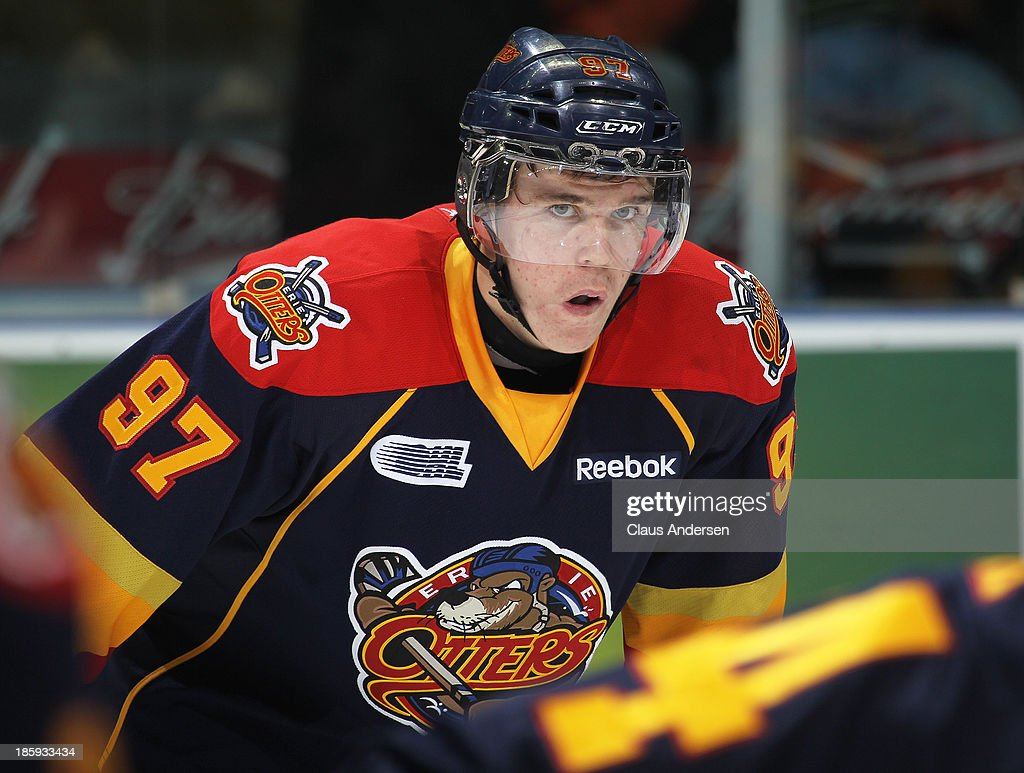 Connor McDavid #97 of the Erie Otters waits for a faceoff against the London Knights during an OHL game at the Budweiser Gardens on October 25, 2013 in London, Ontario, Canada. The Otters defeated the Knights 5-1.