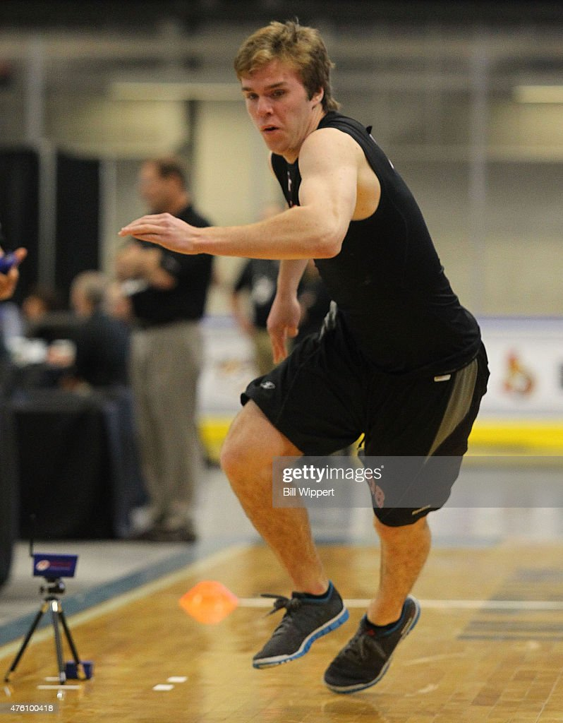 Connor McDavid performs am agility test during the NHL Combine at HarborCenter on June 6, 2015 in Buffalo, New York.