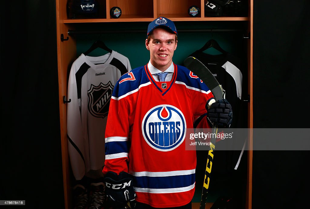 Connor McDavid poses for a portrait after being selected first overall by the Edmonton Oilers during Round One of the 2015 NHL Draft at BB&T Center on June 26, 2015 in Sunrise, Florida.