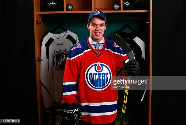 Connor McDavid poses for a portrait after being selected first overall by the Edmonton Oilers during Round One of the 2015 NHL Draft at BBT Center on...