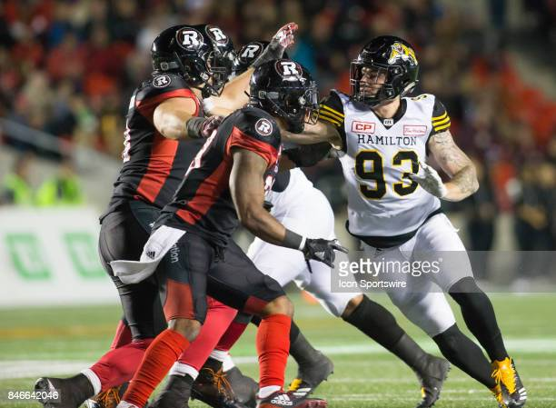Connor McGough of the Hamilton TigerCats in Canadian Football League Action at TD Place Stadium in Ottawa Canada on Saturday September 9 2017 The...