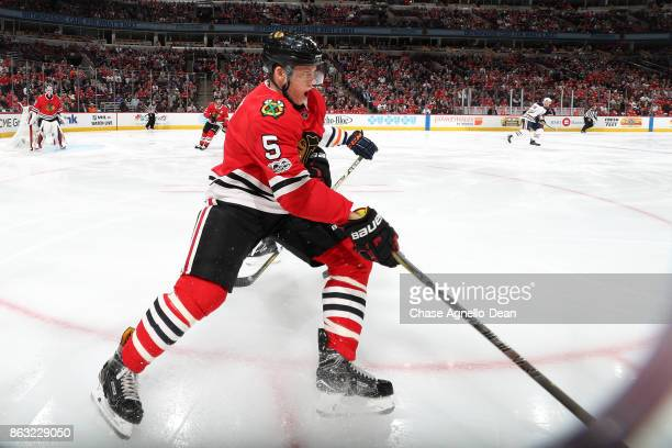 Connor Murphy of the Chicago Blackhawks skates up the ice in the first period against the Edmonton Oilers at the United Center on October 19 2017 in...