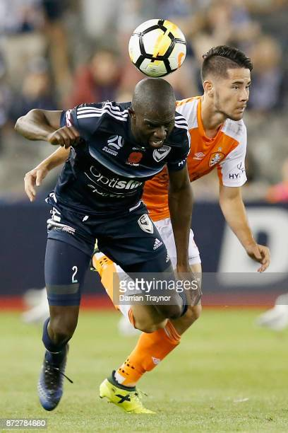 Connor O'Toole of the Roar takes down Jason Geria of the Victory during the round six ALeague match between the Melbourne Victory and Brisbane Roar...