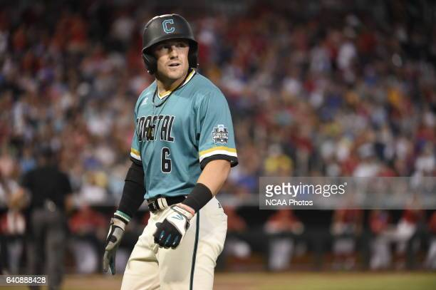 Connor Owings of Coastal Carolina University shows his frustration after being robbed of a hit against the University of Arizona during the Division...