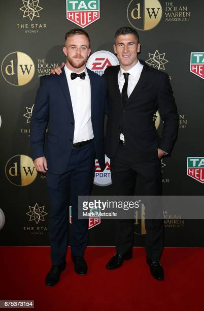 Connor Pain and Nick Montgomery arrive ahead of the FFA Dolan Warren Awards at The Star on May 1 2017 in Sydney Australia
