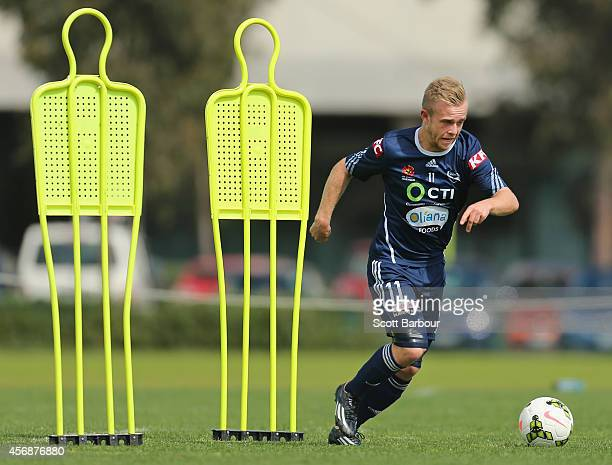 Connor Pain controls the ball during a Melbourne Victory ALeague training session at Gosch's Paddock on October 9 2014 in Melbourne Australia
