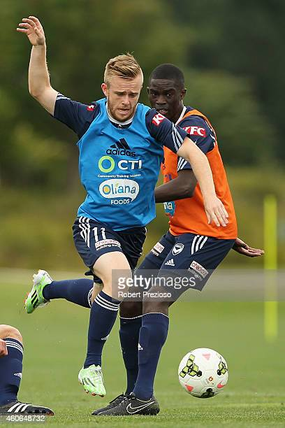 Connor Pain controls the ball during a Melbourne Victory ALeague training session at Gosch's Paddock on December 19 2014 in Melbourne Australia