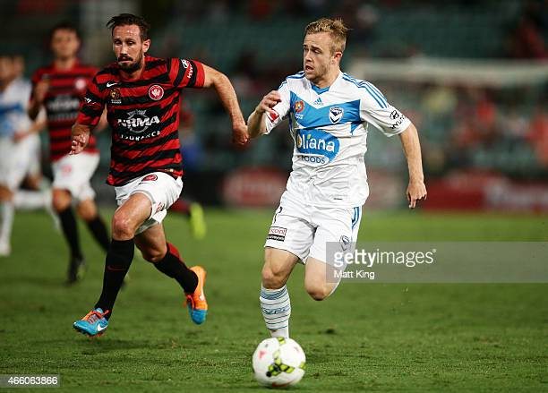 Connor Pain of Melbourne Victory controls the ball during the round 21 ALeague match between the Western Sydney Wanderers and Melbourne Victory at...