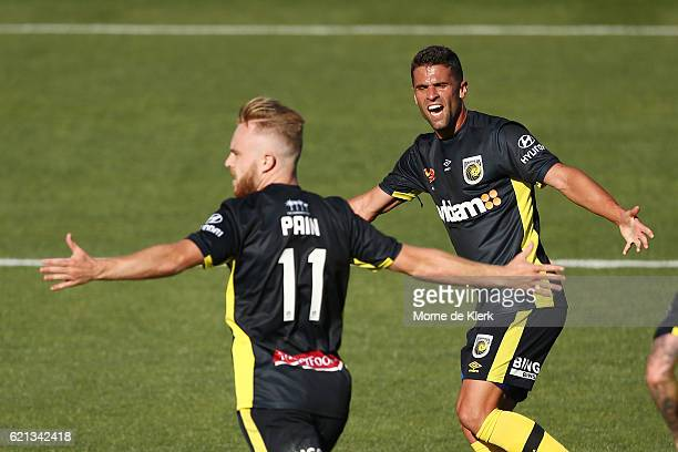 Connor Pain of the Central Coast Mariners celebrates after scoring a goal during the round five ALeague match between Adelaide United and the Central...
