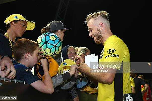 Connor Pain of the Mariners celebrates the win during the round eight ALeague match between the Central Coast Mariners and the Perth Glory at Central...