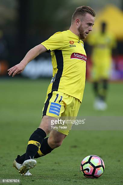 Connor Pain of the Mariners controls the ball during the round three ALeague match between the Central Coast Mariners and the Brisbane Roar at...