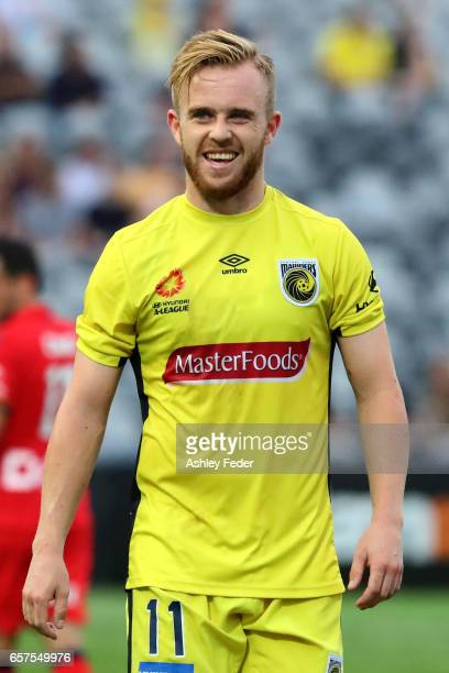 Connor Pain of the Mariners looks on during the round 24 ALeague match between Central Coast Mariners and Adelaide United at Central Coast Stadium on...