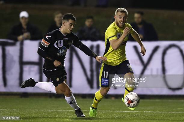 Connor Pain of the Mariners makes a break during the FFA Cup round of 32 match between Blacktown City and the Central Coast Mariners at Lilys...