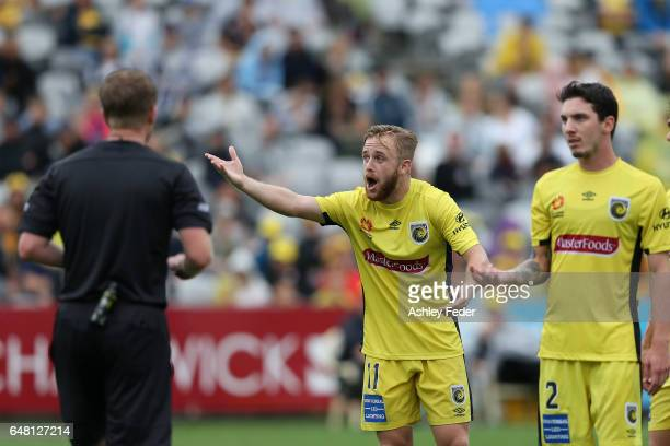 Connor Pain of the Mariners questions a decision during the round 22 ALeague match between the Central Coast Mariners and Melbourne City FC at...