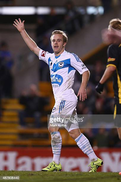 Connor Pain of the Melbourne Victory appeals for a goal during a FFA Cup match between Balmain Tigers FC and Melbourne Victory at Leichhardt Oval on...