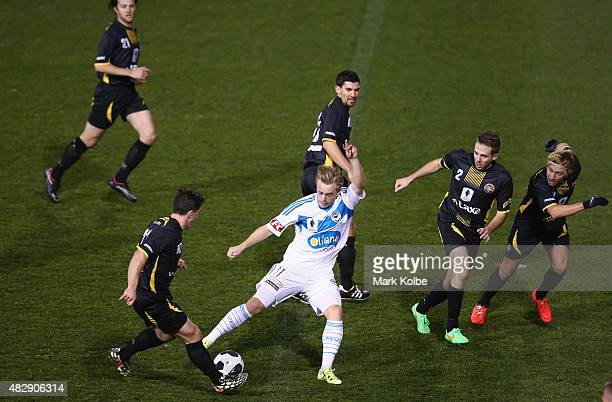 Connor Pain of the Melbourne Victory takes on the Tigers defence during a FFA Cup match between Balmain Tigers FC and Melbourne Victory at Leichhardt...