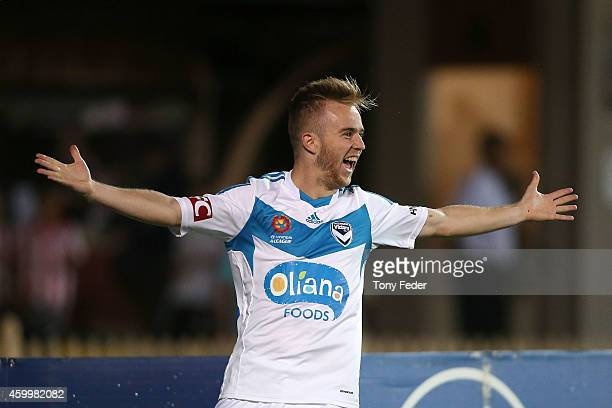 Connor Pain of the Victory celebrates a goal during the round 10 ALeague match between the Central Coast and the Melbourne Victory at North Sydney...