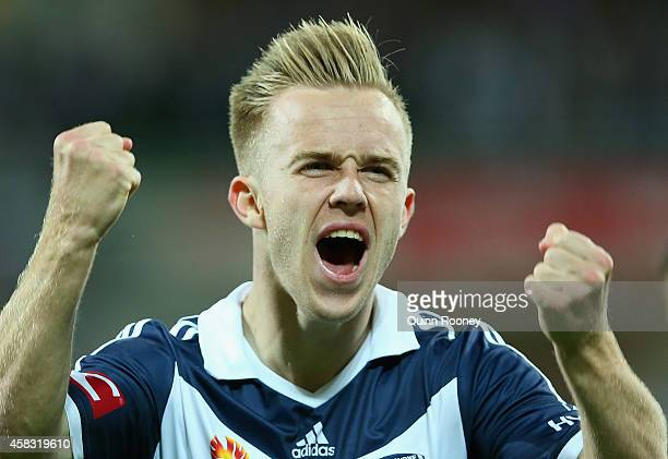 Connor Pain of the Victory celebrates scoring a goal during the round four ALeague match between the Melbourne Victory and Wellington Phoenix at AAMI...