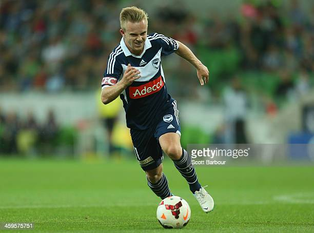 Connor Pain of the Victory controls the ball during the round 12 ALeague match between Melbourne Victory and the Western Sydney Wanderers at AAMI...