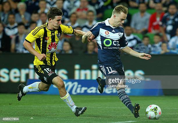 Connor Pain of the Victory kicks a goal during the round four ALeague match between the Melbourne Victory and Wellington Phoenix at AAMI Park on...