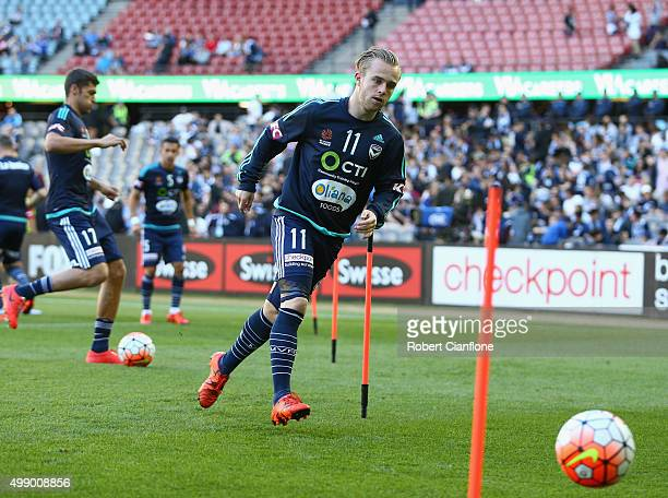 Connor Pain of the Victory warms up prior to the round eight ALeague match between Melbourne City FC and Adelaide United at Etihad Stadium on...