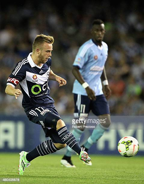 Connor Pain of Victory passes the ball during the round 11 ALeague match between Melbourne Victory and Sydney FC at Etihad Stadium on December 13...