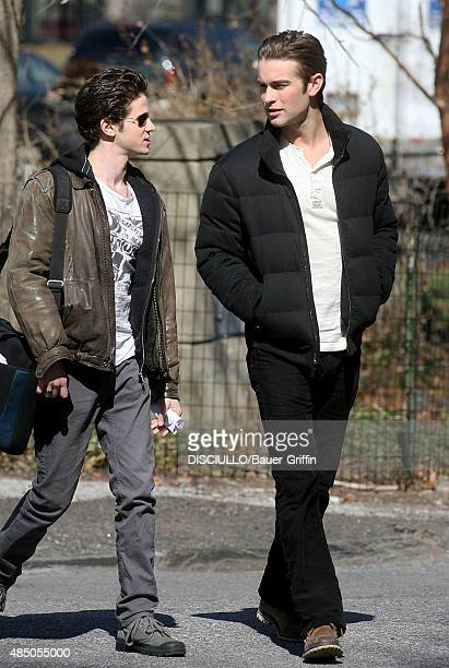 Connor Paolo and Chace Crawford are seen on the movie set of 'Gossip Girl' on March 08 2011 in New York City