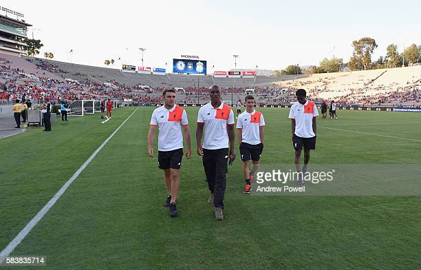 Connor Randall Andre Wisdom Cameron Brannagan and Ovie Ejaria of Liverpool before the International Champions Cup match between Chelsea and Liverpool...