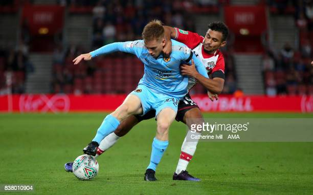 Connor Ronan of Wolverhampton Wanderers and Sofiane Boufal of Southampton during the Carabao Cup Second Round match between Southampton and...