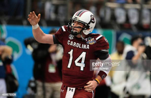 Connor Shaw of the South Carolina Gamecocks celebrates after catching a 9 yard touchdown pass during the first half of their game against the...