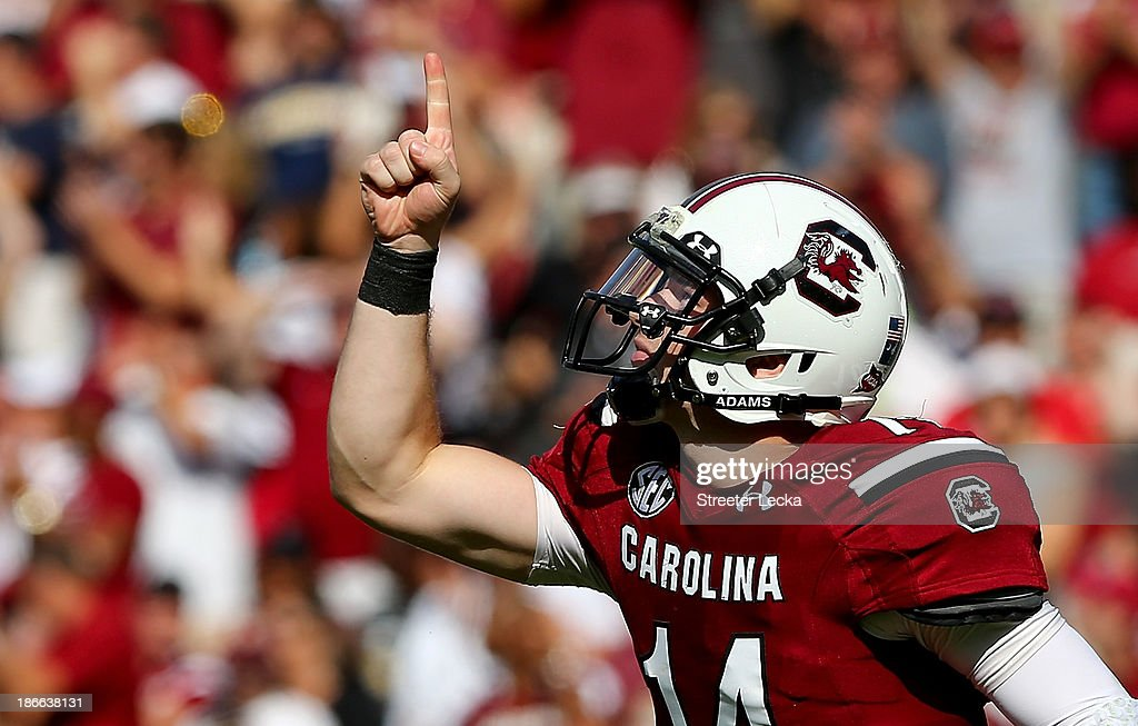 Connor Shaw #14 of the South Carolina Gamecocks reacts after his teams touchdown against the Mississippi State Bulldogs during their game at Williams-Brice Stadium on November 2, 2013 in Columbia, South Carolina.