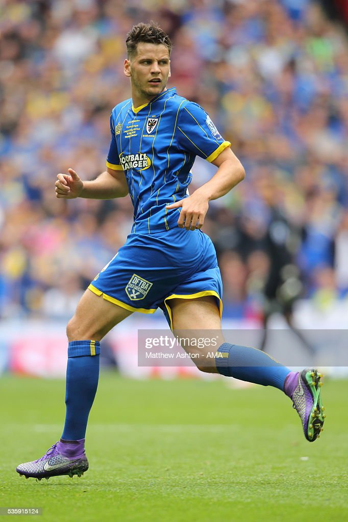 Connor Smith of AFC Wimbledon during the Sky Bet League Two Play Off Final between Plymouth Argyle and AFC Wimbledon at Wembley Stadium on May 30, 2016 in London, England.