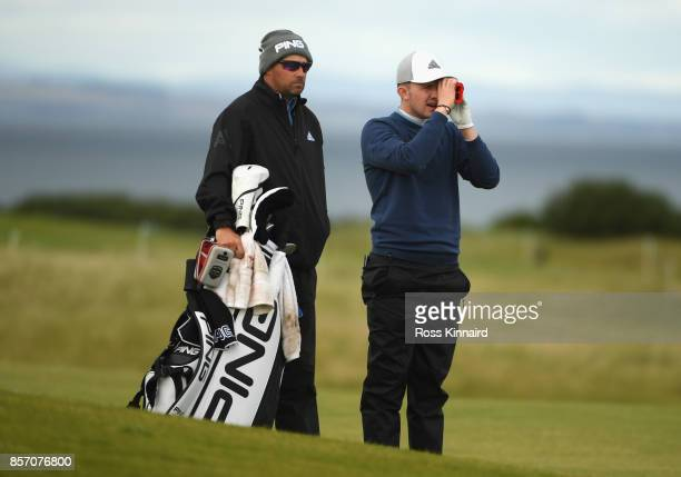 Connor Syme of Scotland during practice prior to the 2017 Alfred Dunhill Links Championship at Kingsbarns on October 3 2017 in St Andrews Scotland