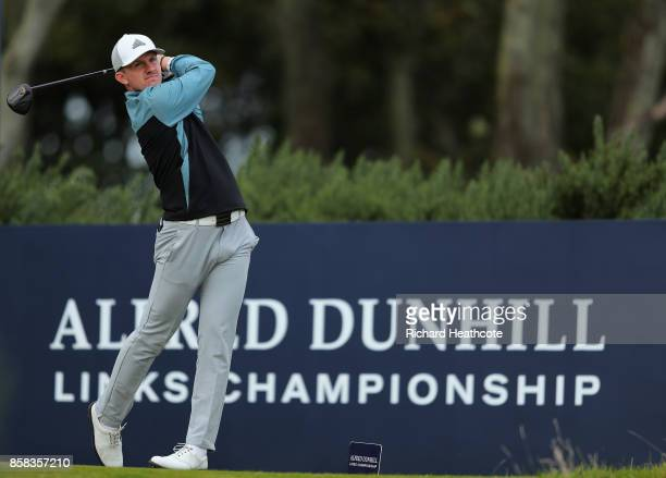 Connor Syme of Scotland in action during day two of the 2017 Alfred Dunhill Championship at Kingsbarns on October 6 2017 in St Andrews Scotland