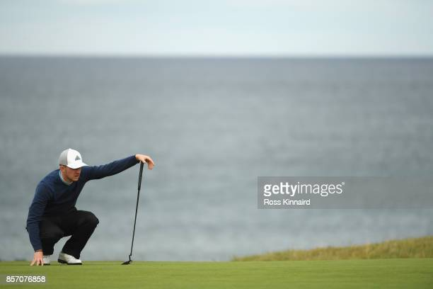 Connor Syme of Scotland on the 18th during practice prior to the 2017 Alfred Dunhill Links Championship at Kingsbarns on October 3 2017 in St Andrews...