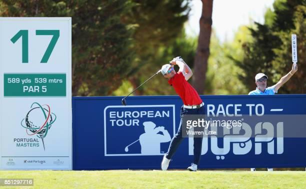 Connor Syme of Scotland tees off on the 17th hole during day two of the Portugal Masters at Dom Pedro Victoria Golf Club on September 22 2017 in...