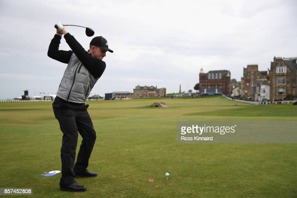 Connor Syme of Scotland tees off on the 18th during practice prior to the 2017 Alfred Dunhill Links Championship at The Old Course on October 4 2017...