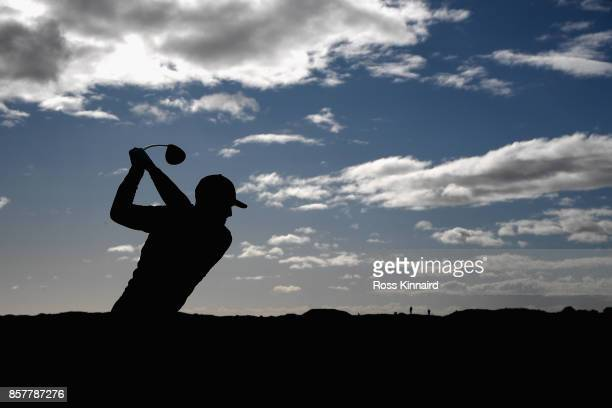 Connor Syme of Scotland tees off on the 2nd during day one of the 2017 Alfred Dunhill Championship at Carnoustie on October 5 2017 in St Andrews...