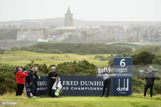 Connor Syme of Scotland tees off on the 6th during practice prior to the 2017 Alfred Dunhill Links Championship at The Old Course on October 4 2017...