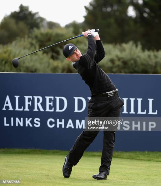 Connor Syme of Scotland tees off on the 9th during day one of the 2017 Alfred Dunhill Championship at Carnoustie on October 5 2017 in St Andrews...